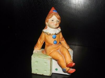 Capodimonte ~ Girl Clown Sitting on Dice ~ Figurine ~ Vintage
