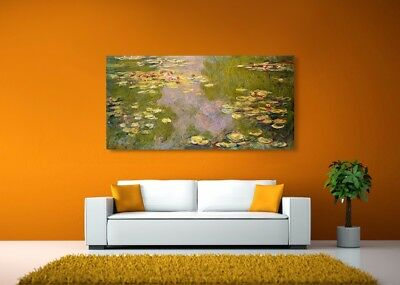 "Water Lillies by Claude Monet  - 25.5""x13"" - Print Reproduction MATTE Canvas"