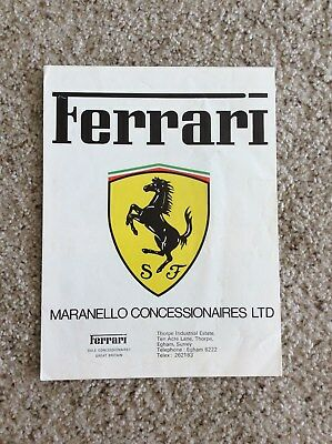 1978 Ferrari of England dealer printed sales handout full line folder