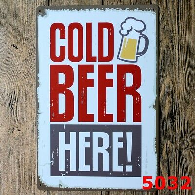 Cold Beer Here Vintage Retro Metal Tin Sign Poster Bar Pub Cafe Club Wall Decor