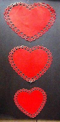 3 Vintage Hanging Red Valentine's Day Hearts Cardboard Bulletin Board Wall Set!
