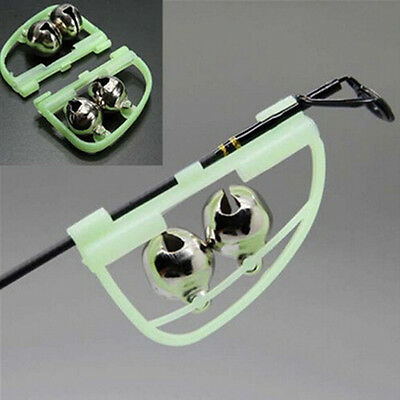 AS_ 2Pcs Night Glow Twin Bell Rings Fishing Rod Clip Bite Lure Alarm Alert Eager
