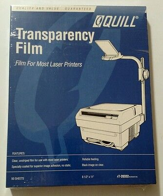 QUILL 7-20332 Laser Printer Transparency Film  50 Sheets  black on clear- Sealed