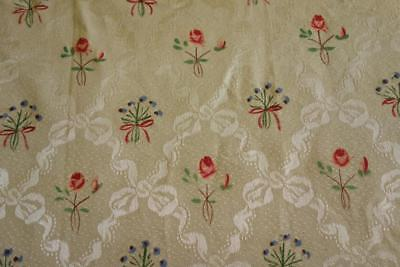 Unused Hand Painted Flowers Vintage Italian Cream Brocade Fabric Bedspread