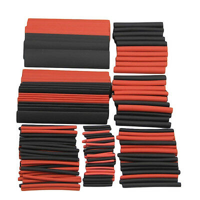 AS_ 150Pcs Red Black Ratio 2:1 Sleeving Wire Kit Heat Shrink Tubing Tube Cable E
