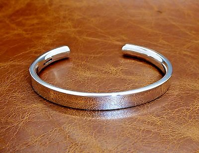 Men's Heavy Solid Silver Torque Bangle Bracelet  Hand-Made by D. Locke