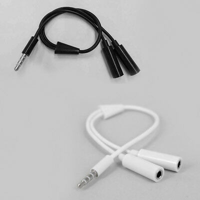 3.5mm AUX Audio Mic Splitter Cable Earphone Headphone Adapter 1-Male To 2-Female