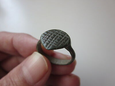 аncient Roman bronze engraving ring in heart shape 4-5 AD