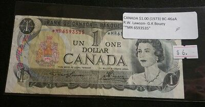 Canada 1973 $1 Dollar Banknote STAR REPLACEMENT Note Lawson-Bouey *MR prefix