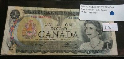 Canada 1973 $1 Dollar Banknote STAR REPLACEMENT Note Lawson-Bouey Prefix *AA