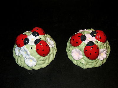 Lenox Butterfly Meadow Ladybug Salt & Pepper Shakers Set New In Box $29 Retail