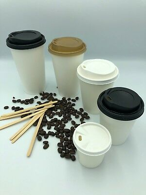 100 x WHITE PAPER CUPS & SIP LIDS Disposable Coffee Tea 4oz 8oz 12oz Catering