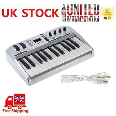 25-key USB MIDI Keyboard Controller with USB Cable Portable Silver Q0G0