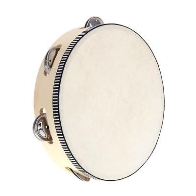 "8"" Hand Held Tambourine Drum Bell Birch Metal Jingles Percussion Toy V0T4"