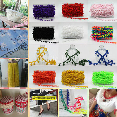 1Meter Simple Pom Pom Ball Fringe Ribbon Braid Lace Trim For DIY Sewing 22 Color