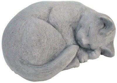 Cast Stone Small Curled Cat Garden Yard Outdoor Decor Statue Antique