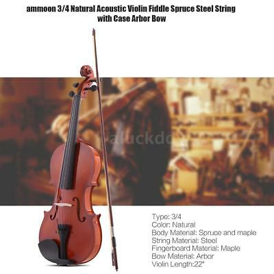 ammoon 3/4 Natural Acoustic Violin Fiddle Spruce with Case for Beginners K1I4