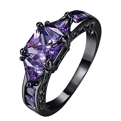 Fashion Women's Jewelry Vintage Crystal Black Gold Filled Cubic Zirconia Ring