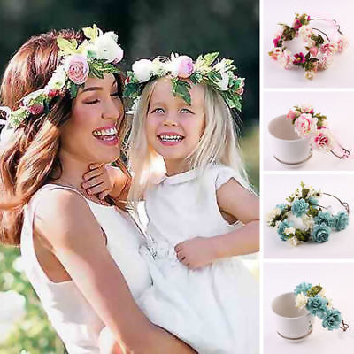 Handmade Floral Crown Rose Women Flower Headband Hair Garland Wedding Headpiece