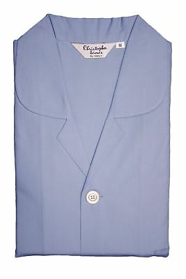 Men's Somax Blue Plain Cotton Pyjamas - Elastic Waist