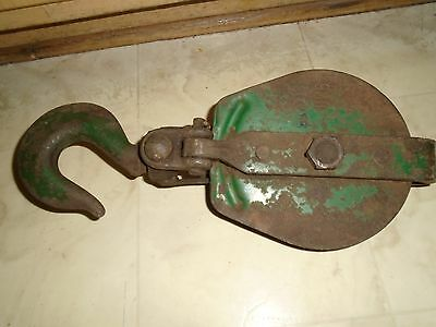 """Antique Vintage Rustic Water/Hay Cast Iron Swivel Hook Pulley 15"""" Steampunk"""