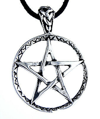Pentagram Guardian Magic Amulet Ring Circle 925 Sterling Silver Pendant No. 50:
