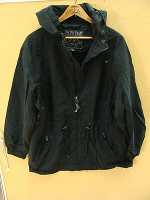 PACIFIC TRAIL Jacket Coat Hooded Mens Full Zip Nylon Black Size M Medium