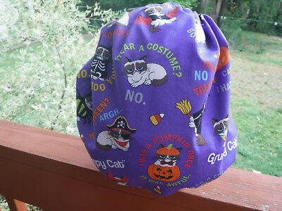 Bouffant surgical scrub hat, cap, purple, cats, halloween
