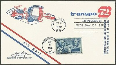 Us Fdc 1972 Transpo 72 Transportation Expo First Day Of Issue Air Mail Cover