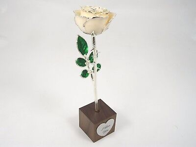 """8"""" Silver Trimmed White Rose In """"I Love You"""" Stand (Free Anniversary Gift Box)"""