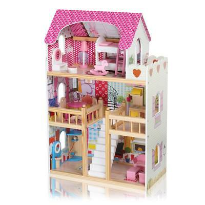 Mcc Wooden Kids Doll House With Furniture Staircase Fits Barbie Dollhouse Picclick Uk