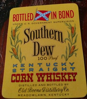 Vintage SOUTHERN DEW Kentucky Straight Bourbon Whiskey 1950's Label yellow large