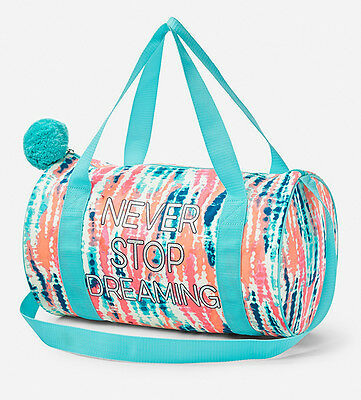 New Justice Girl's Never Stop Dreaming Duffel Bag Tie Dye Turq Blue Multi NWT
