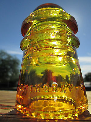Vintage Hemingray 9 Sun Yellow Glass Insulator Colored / Stained CD 106
