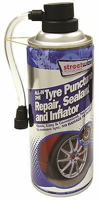 Streetwize Tyre Sealer All-In-One Puncture Repair, Sealant and Inflator 450ml