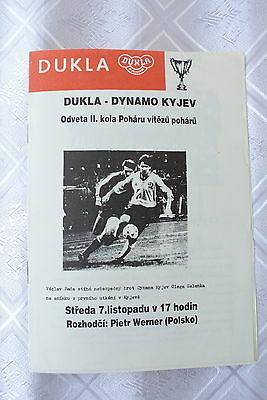 Official program: Dukla Praha Czech Republic - Dynamo Kiev 1990