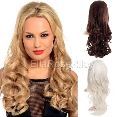 "Koko Womens 3/4 Long Curly Extensions Half Head Wig 24"" Length Hair Piece  Uk"
