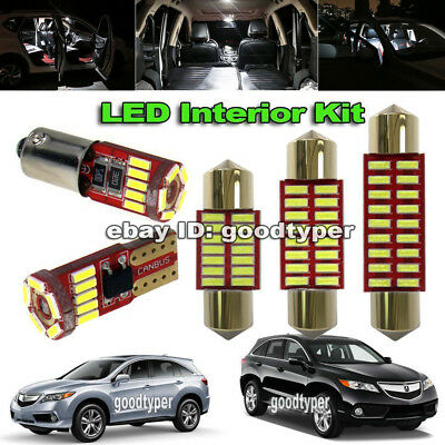 12x White LED Vanity Dome lights interior package kit for 213-2016 Acura RDX