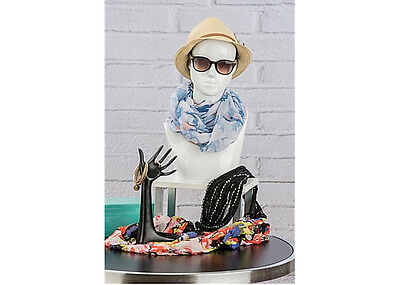 New in Box - Female Mannequin Bust, Swivel Head, Abstract Features, Glossy White