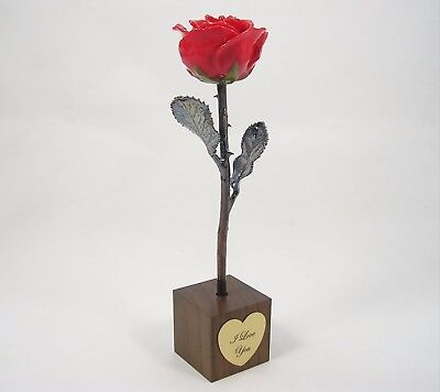 """8"""" Red Copper Rose In """"I Love You"""" Stand (Free Anniversary Gift Box)"""