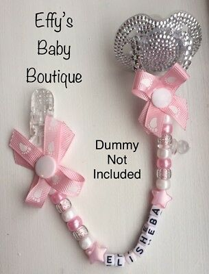 ⭐️BEST SELLER⭐️Personalised Dummy Clips💗Baby Gift👣Baby Pink💗Footprints👣