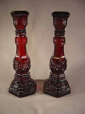 """Avon Cape Cod 1876 Collection Ruby Red Glass 8 3/4"""" Candle Holders"""