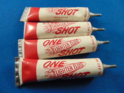 Vintage One Shot lighter fluid lead tube Easthampton Mass for zippo lot of 4