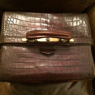 Antique Genuine Crocodile & Brass Doctor Bag w Key