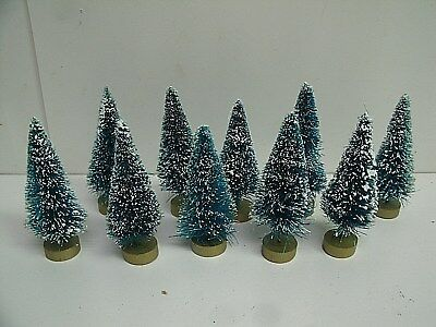 "Lot of 20 Sisal Trees Green Frosted  - 3"" Christmas Holiday Miniatures"