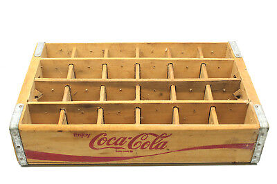 Coca Cola Slotted 24 Glass Bottle Carrier Crate Box Coke Vintage Great Condition