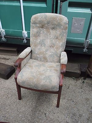 Retro Fireside Reading Nursing Button Back Chair Oak Frame Armchair May Deliver