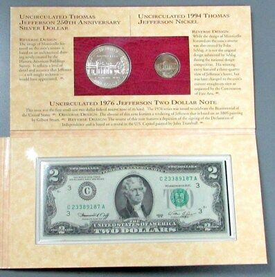 1993 Silver Jefferson Coin & Currency With 1994 Matte Nickel Commemorative Set