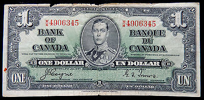 1937 Canada One Dollar Banknote P.58.e Signatures Coyne-Towers SB3912