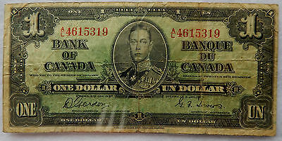 1937 Canada One Dollar Banknote P.58.d Signatures Gordon-Towers SB3914